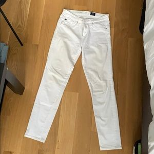 Size 28R, white AG jeans, skinny fit
